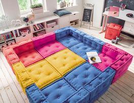 Sitzkissen-Sofa Kids Paradise mit verspielter Knopfheftung