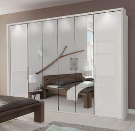 Spiegel-Falttüren-Kleiderschrank Westwill mit aufgesetztem Rahmen