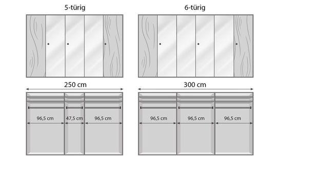 Spiegel-Kleiderschrank Alianos Infografik zur Ausstattung