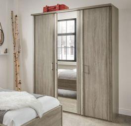 Spiegel-Kleiderschrank Troia mit Holz- und Spiegeltüren