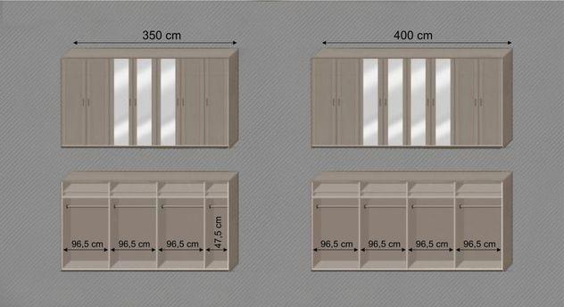Infografik der Kleiderstangen und Einlegeböden zum Spiegel-Kleiderschrank Troia