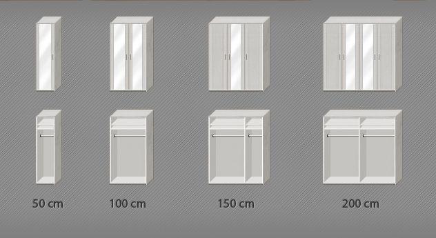 Grafik zur Inneneinteilung der Spiegeltüren-Kleiderschränke Calimera