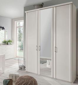 Spiegeltüren-Kleiderschrank Calimera mit Metallgriffen und optionaler Kranzleiste