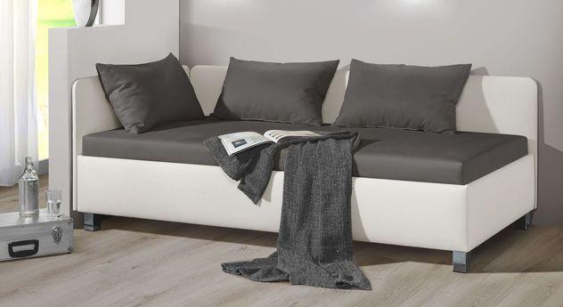 Studioliege Lisala aus weißem Kunstleder und dunkelgrauem Microvelours