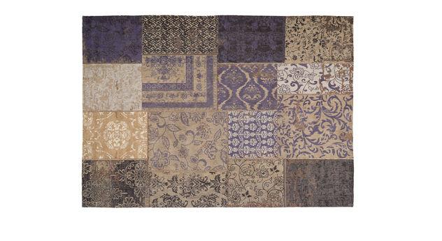 Teppich Patch blau aus weichem Chenille-Flor