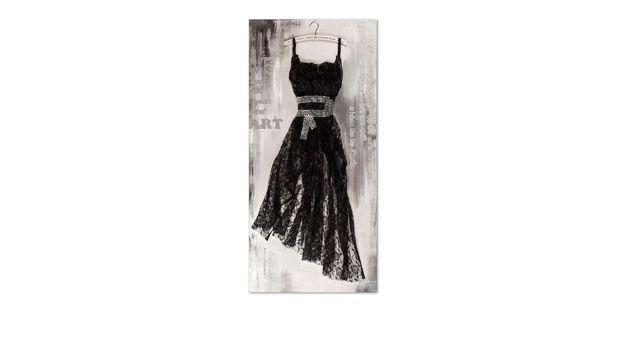 Einzigartiges von Hand gefertigtes Wandbild Dress schwarz