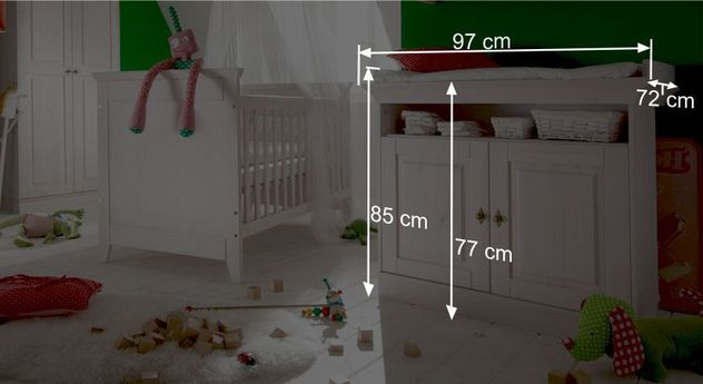 Wickelkommode Babys Paradises Bemaßungsgrafik