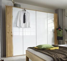 Wildholz und Glas am Drehtüren-Kleiderschrank
