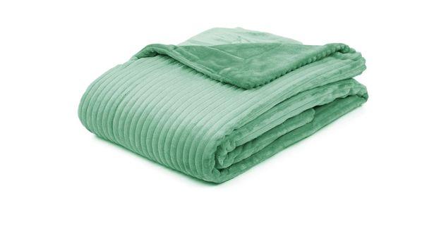 Kuschelige Wohndecke Streifentraum in Mint fürs Schlafzimmer