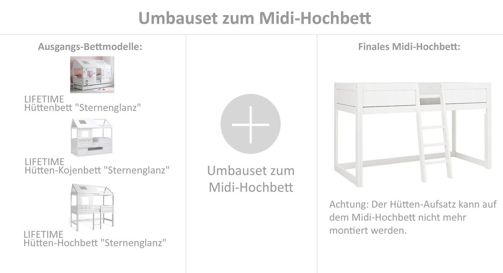 Stabiles LIFETIME Umbauset Sternenglanz zum Midi-Hochbett