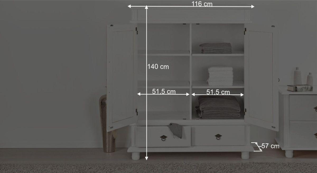 Maßgrafik zum Wäscheschrank Wien