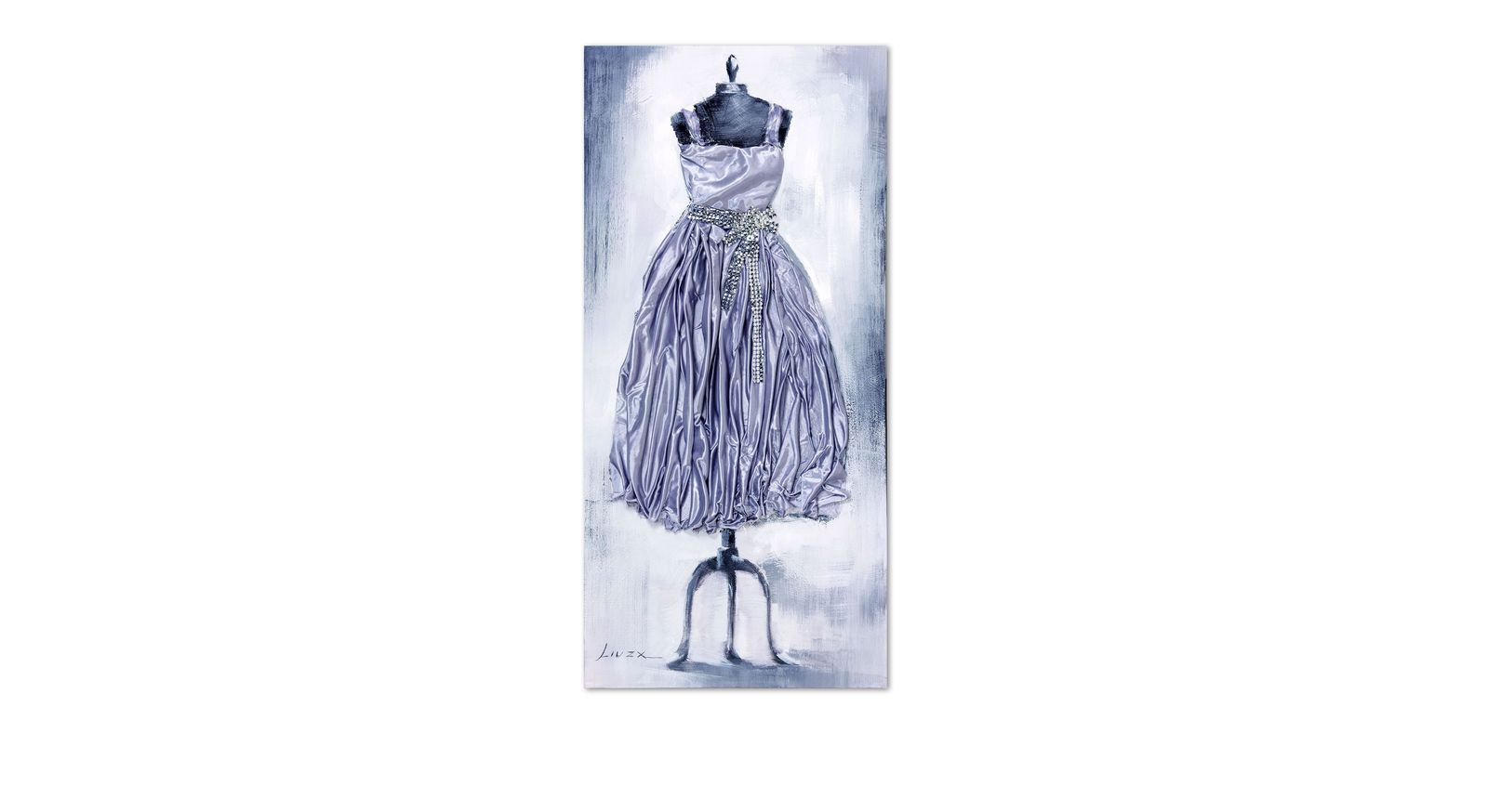 Wandbild Dress grau mit glänzendem Stoff