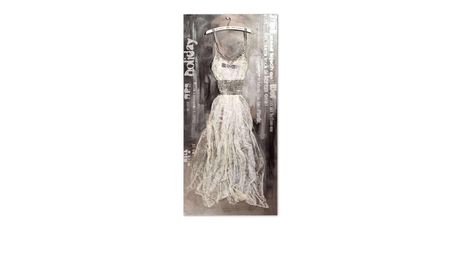 Wandbild Dress hellgrau mit Kleid als Relief aus Stoff