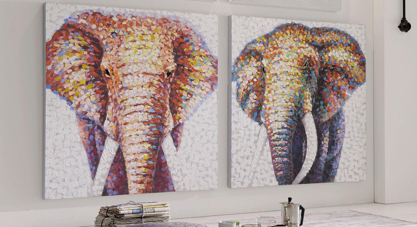 Wandbild Elephant in kräftigen Farben
