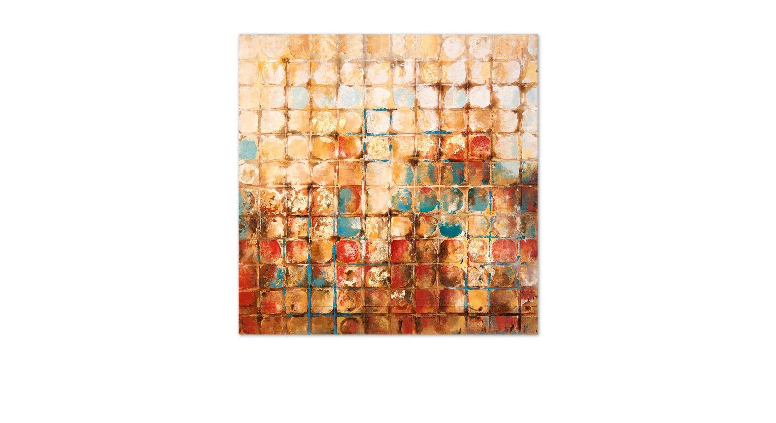 Handgefertigtes Struktur-Wandbild Squares