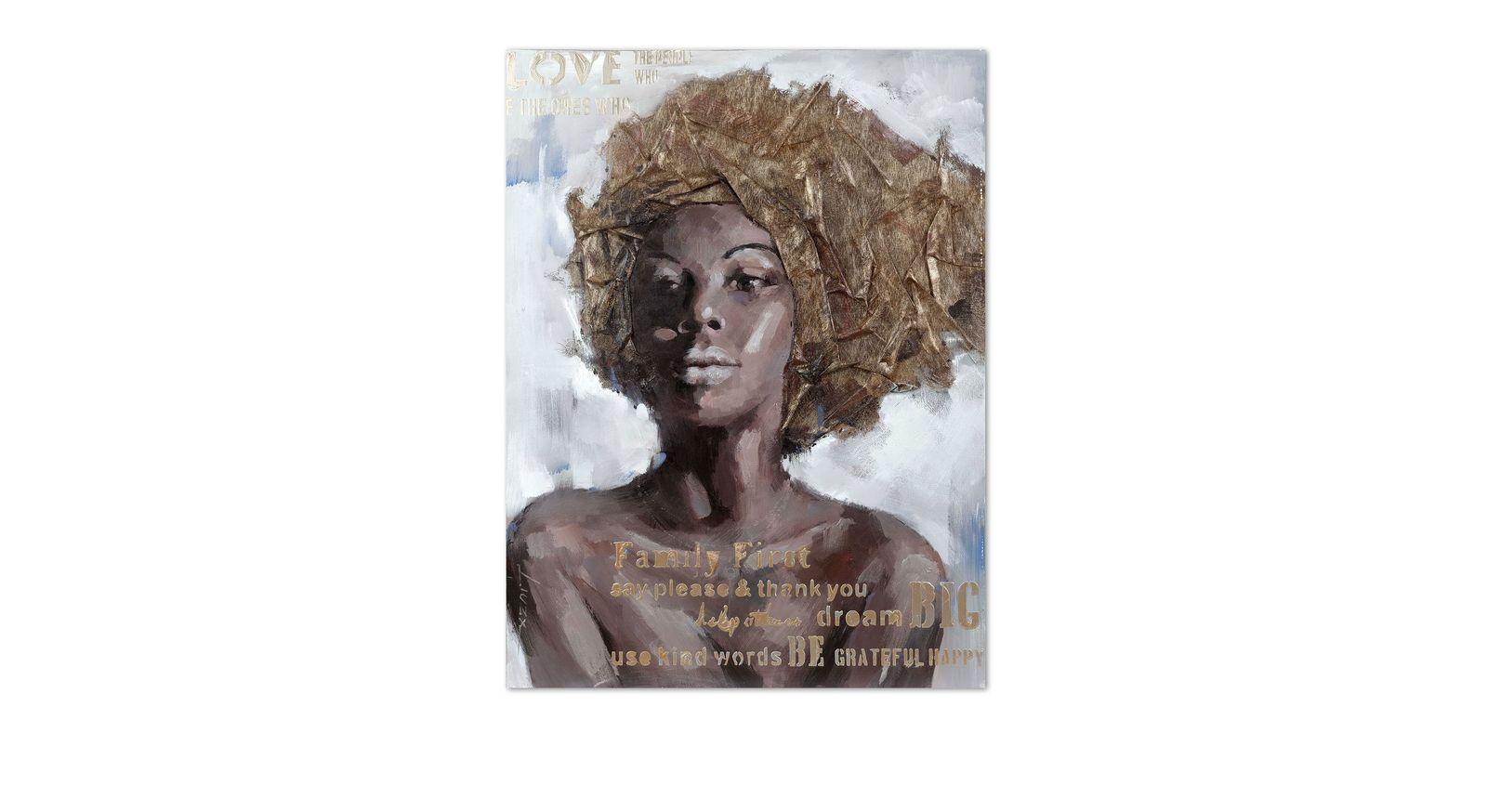 Plastisches Wandbild Woman III mit Relief aus Stoff
