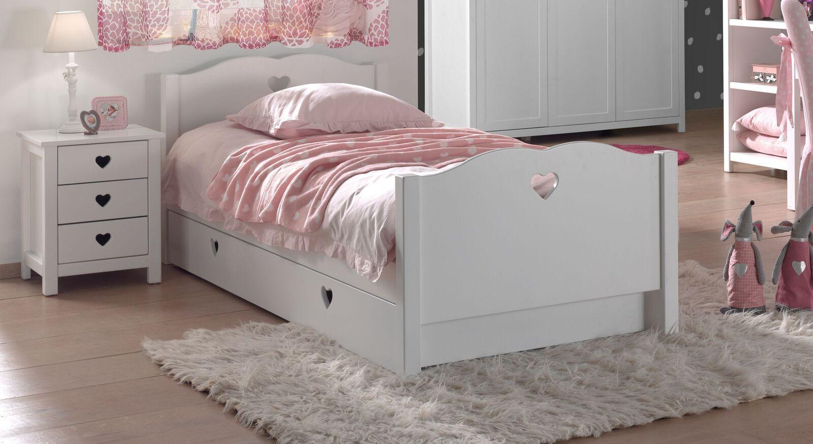 Weißes Ausziehbett Asami für Mädchenzimmer