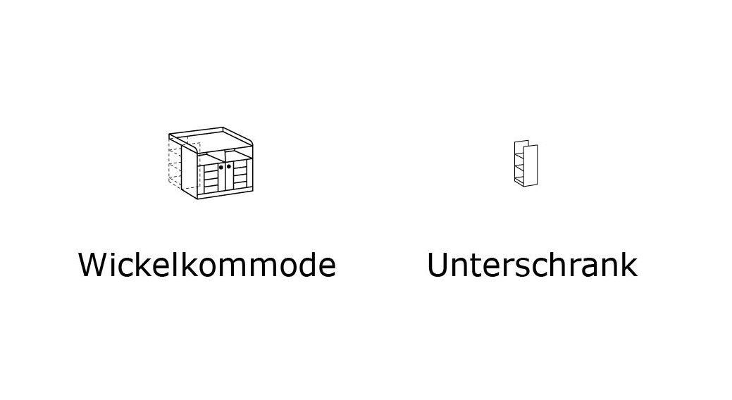 Wickelkomode Carlino optional mit Unterschrank