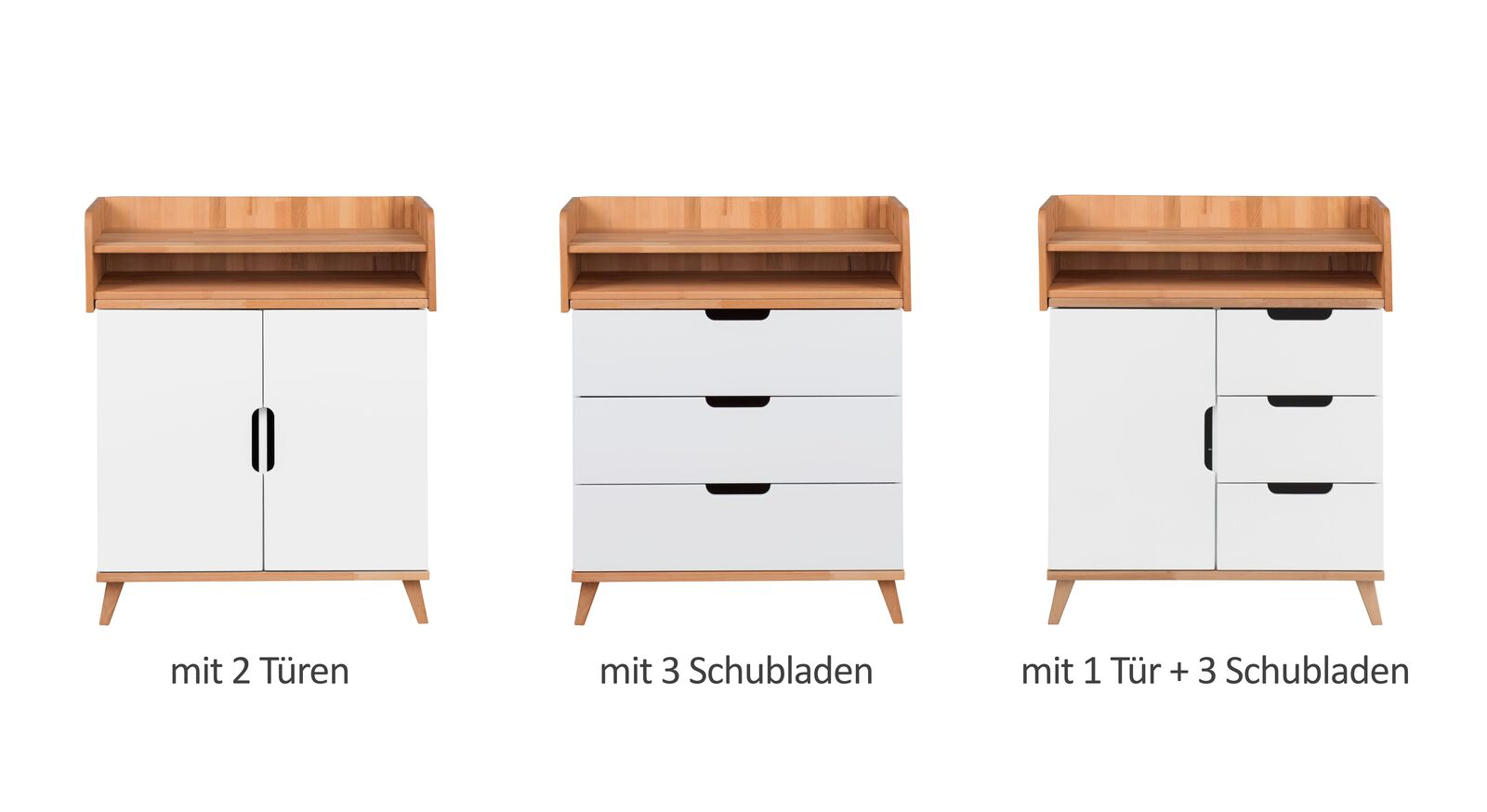 Alle Varianten der Wickelkommode Kids Nordic in Weiß