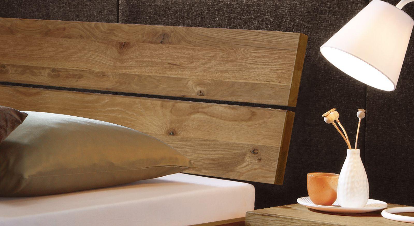 Wildeichenbett Curada mit Kopfteil aus Massivholz