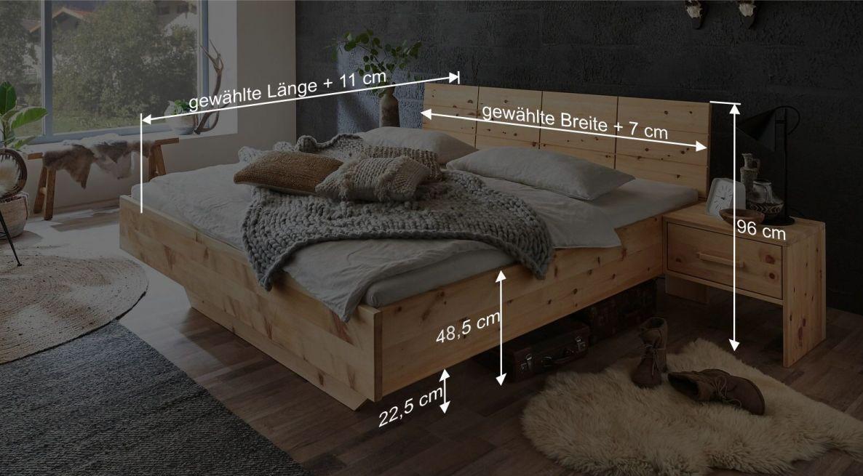 Bemaßungsgrafik zum Bett Antelao