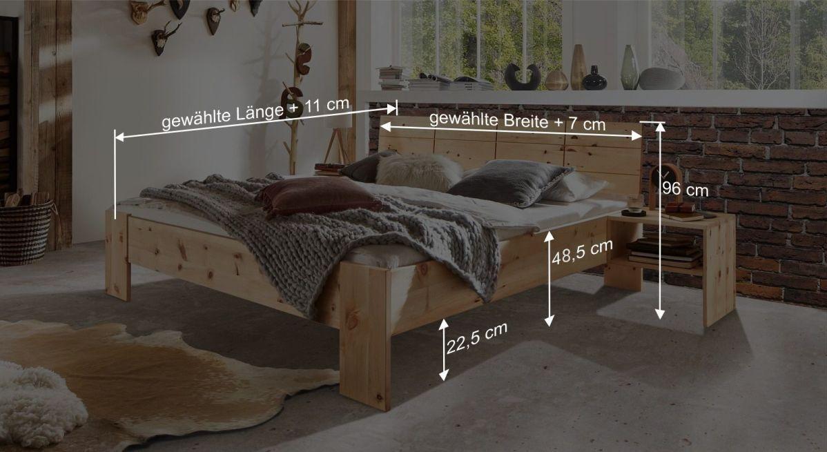 Bemaßungsgrafik zum Bett Nudo