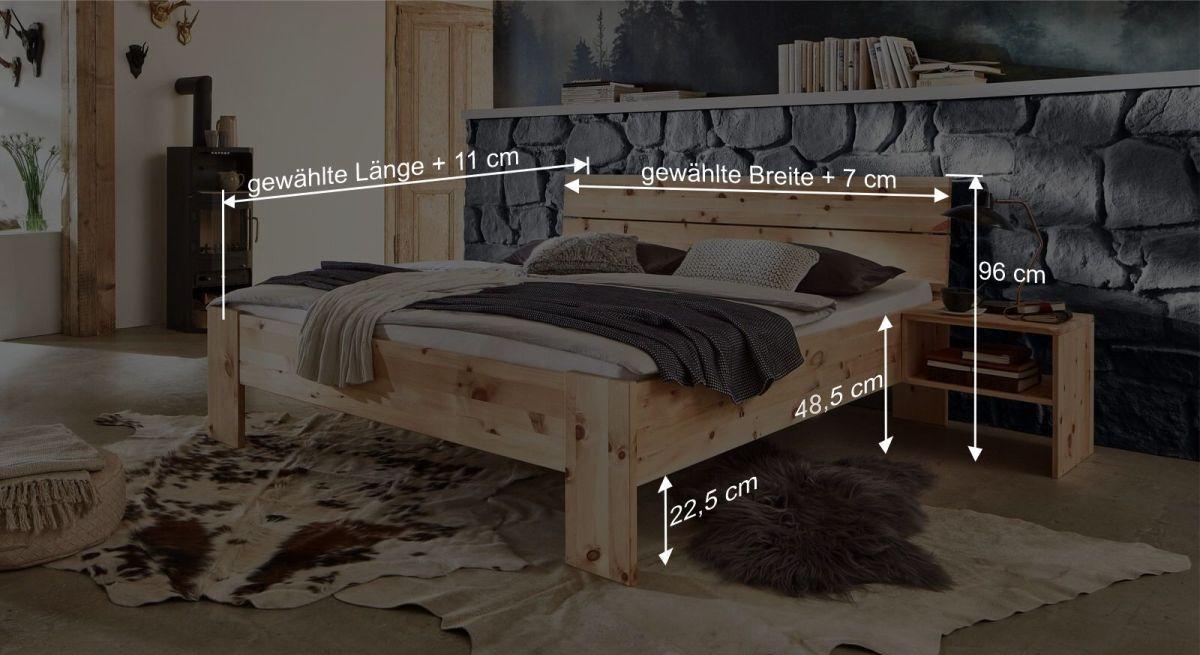 Bemaßungsgrafik zum Bett Presanella