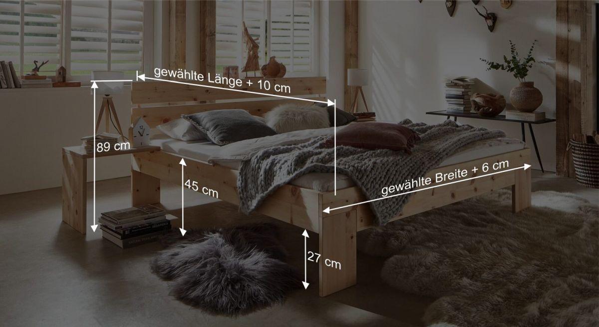 Bemaßungsgrafik zum Zirbenholz Bett Bondone