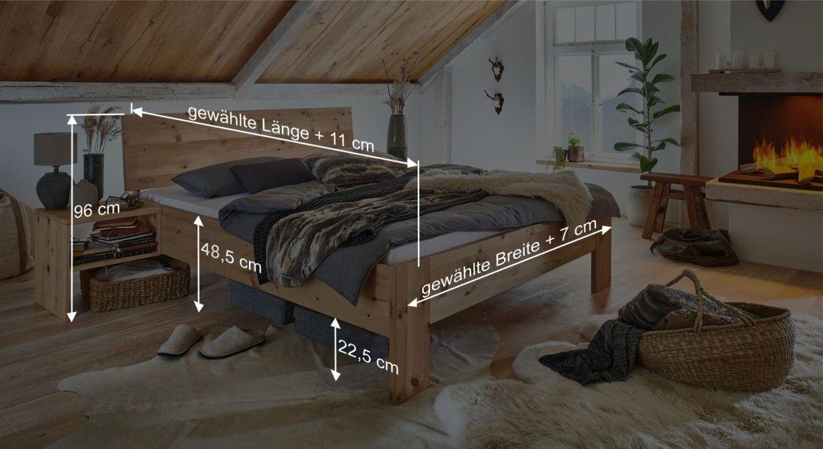 Bemaßungsgrafik zum Bett Tosa