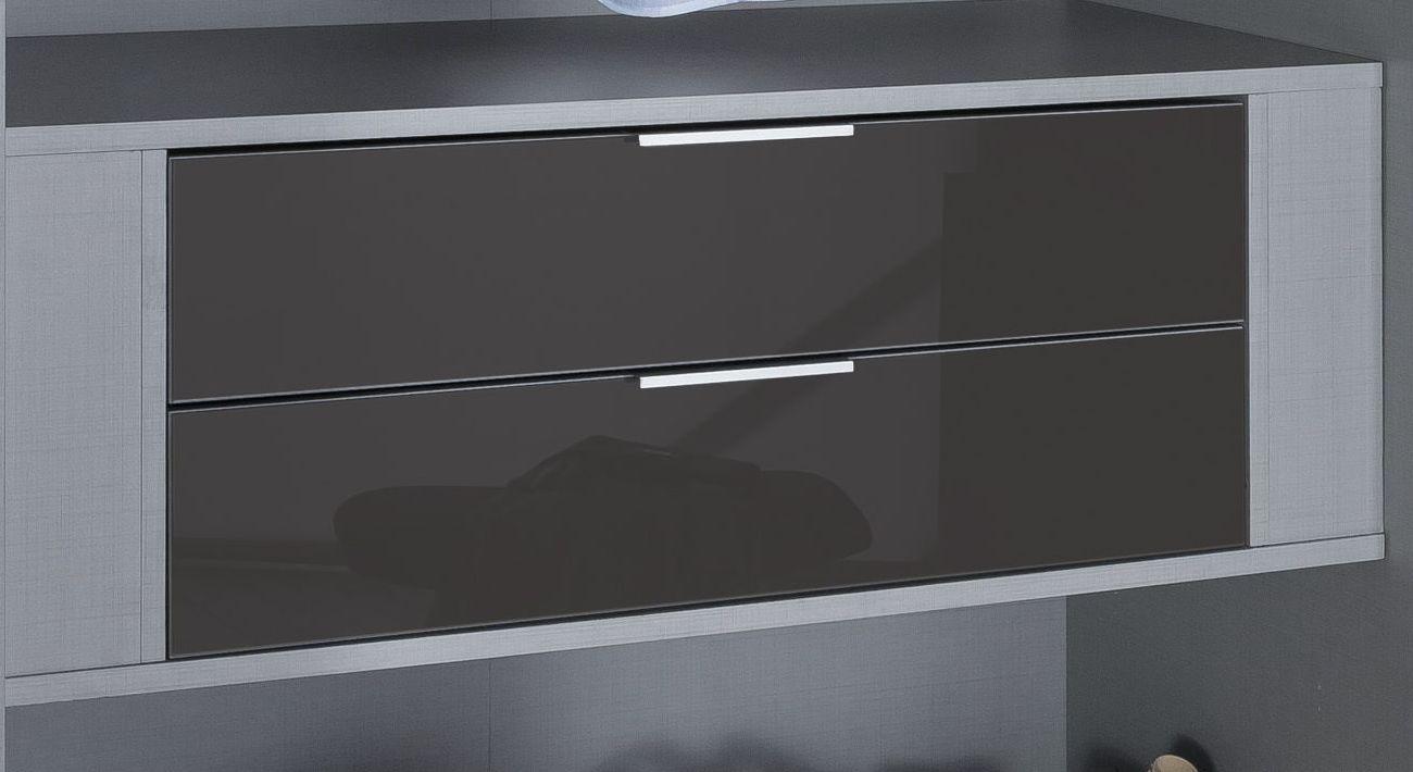 Breiter Schubladen-Einsatz mit Glasfront als Zubehör und Beleuchtung für Kleiderschränke