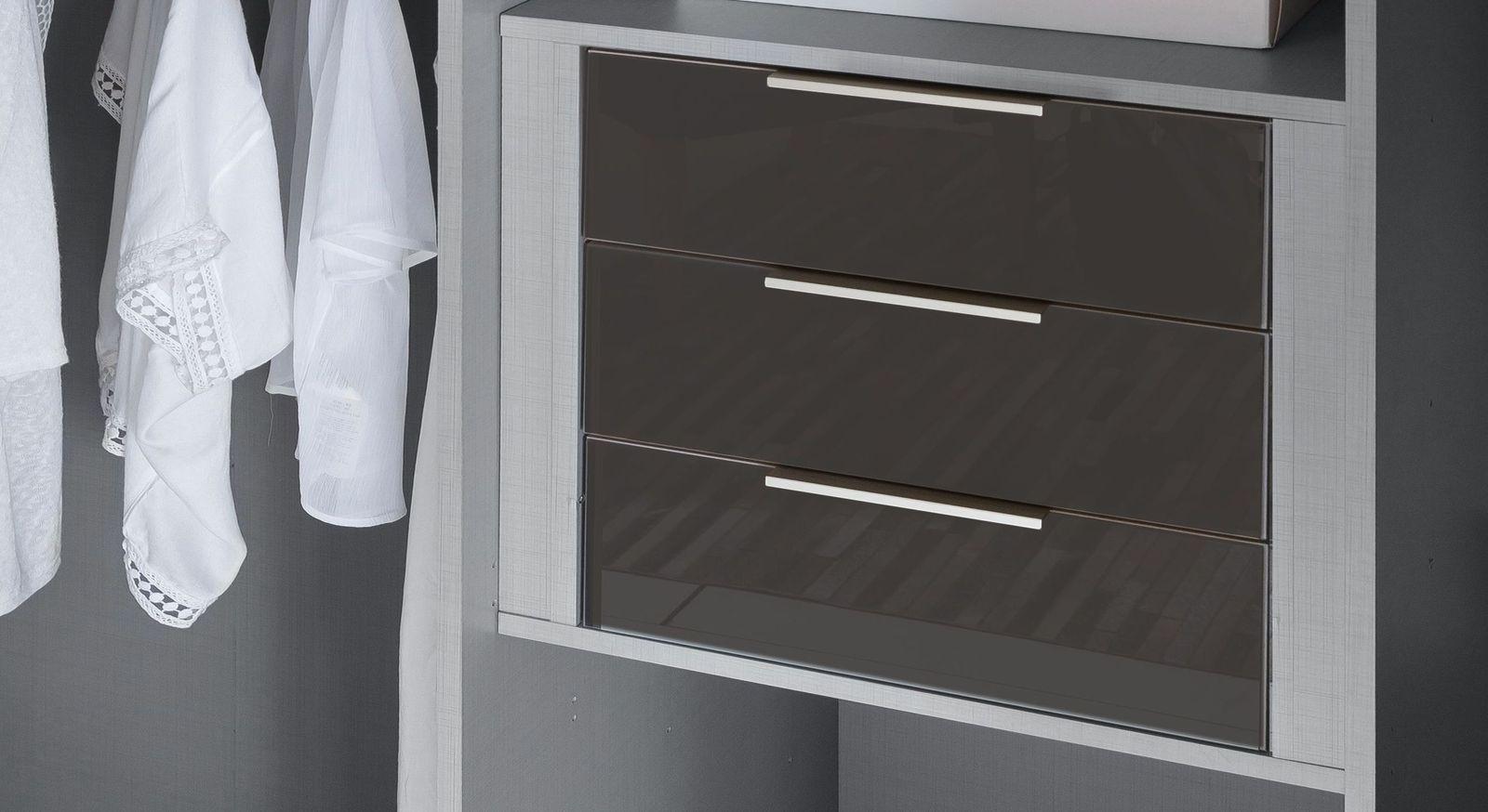 Schmaler Schubladen-Einsatz mit Glasfront als Zubehör und Beleuchtung für Kleiderschränke