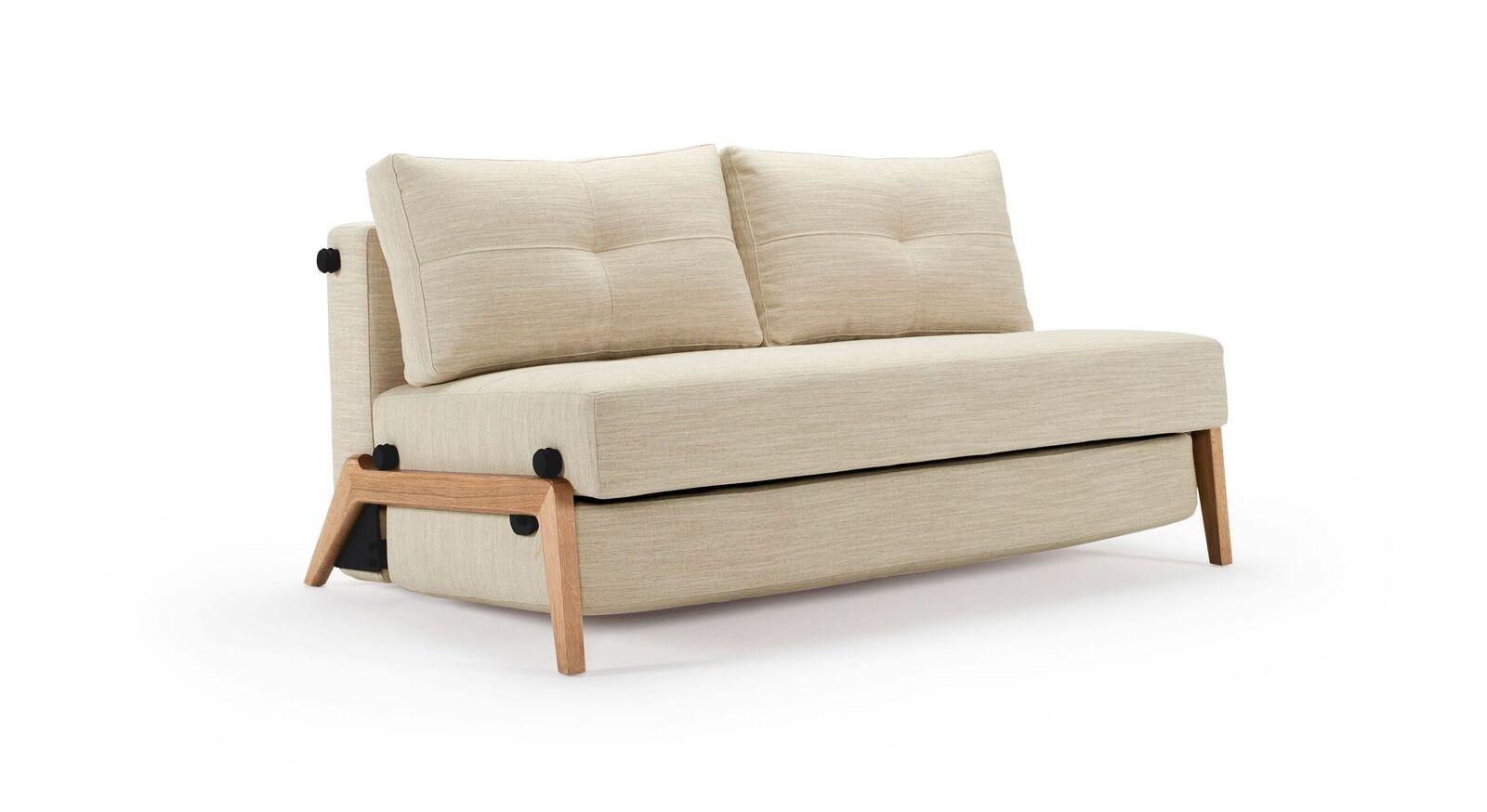 Zweisitzer Schlafsofa Carlton mit Bezug aus Webstoff mit Leinen in Sand