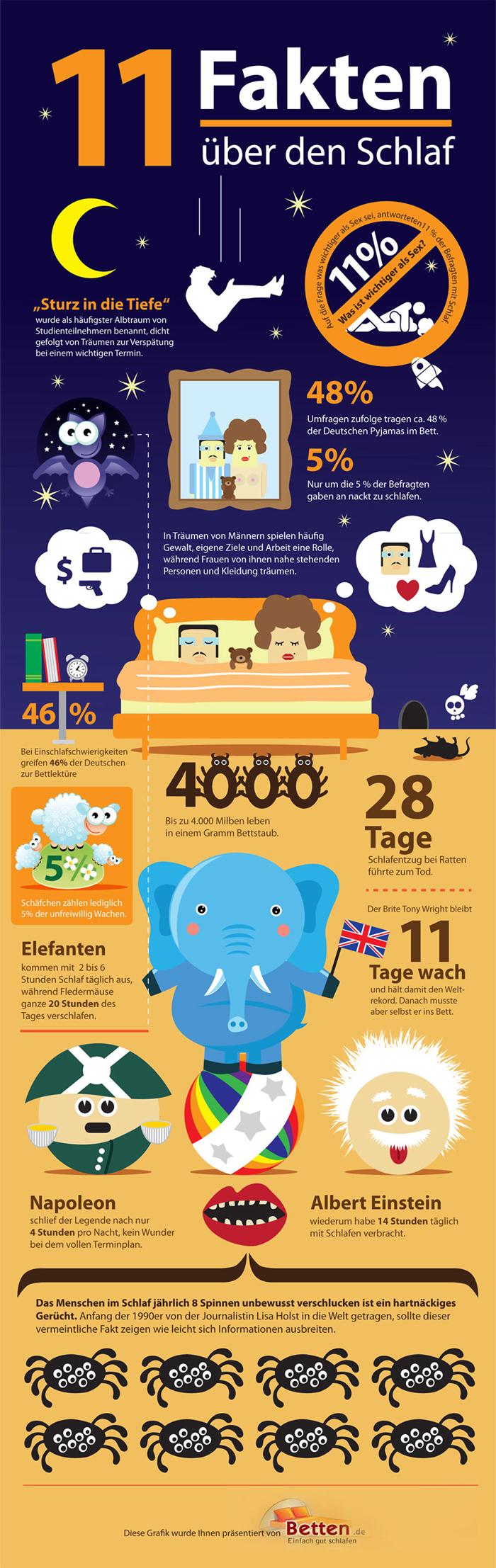 Infografik - 11 Fakten über den Schlaf