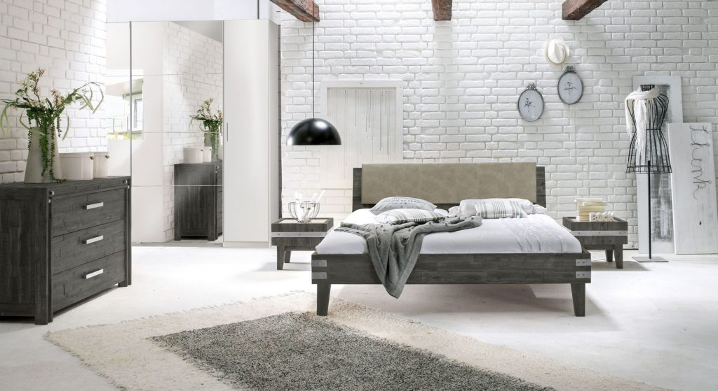 m bel im industrial stil loft flair im schlafzimmer. Black Bedroom Furniture Sets. Home Design Ideas
