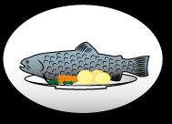 Auf Teller servierter Fisch