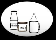 Honig, Milch und Tasse