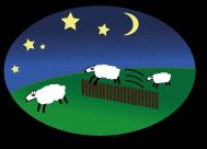 Schafe springen über einen Zaun