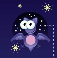 Fledermaus mit Sternenhimmel