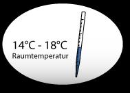 Termometer und 14°C-18°C Raumtemperatur